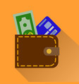wallet icon in color money case cash shopping vector image vector image