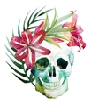 watercolor skull with flowers vector image vector image