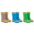 waterproof rain rubber boots set realistic 3d vector image vector image