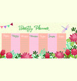 weekly planner with dragonfly and protea flowers vector image