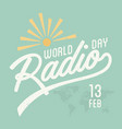 world radio day vintage vector image