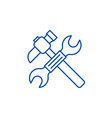 wrench and hammer line icon concept wrench and vector image vector image