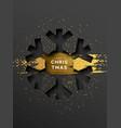 year card gold papercut snowflake vector image