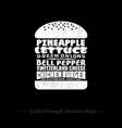 burger hawaii white black and white chalk drawn vector image