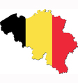 Map of Belgium with national flag vector image