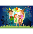 A family celebrating outdoor near the carnival vector image
