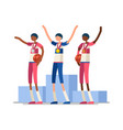 basketball athletes gold medal podium vector image