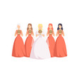 beautiful bride with bridesmaids in identical vector image