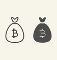 bitcoin bag line and glyph icon cryptocurrency vector image