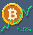 bitcoin growth chart vector image