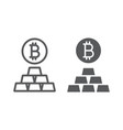 bitcoin vs gold line and glyph icon finance vector image vector image