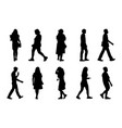 black people walking on white background vector image vector image