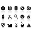 black software icons set vector image