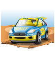 blue race car on desert background in cartoon vector image