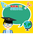 boy with education icons vector image vector image