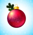 Bright Christmas ball and fir tree branch vector image