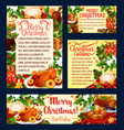christmas holiday cuisine festive dinner banner vector image vector image