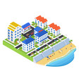 coastal city - modern colorful isometric vector image