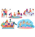 collection isolated groups people spending vector image vector image