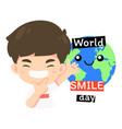 cute boy in world smile day concept vector image vector image