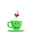 cute green cartoon cup with smilling face vector image