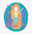 cute mermaid underwater with plants and fishes vector image vector image