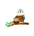 cute mother owl stay on tree branch near kid vector image vector image