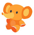 cute toy elephant in yellow sits on floor vector image vector image