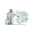 disinfection worker in costume fight with virus vector image