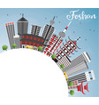 foshan skyline with gray buildings blue sky and vector image vector image