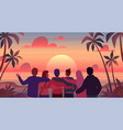 friends at sunset cartoon men and women vector image vector image