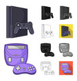 game console and virtual reality cartoonblack vector image