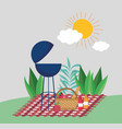 grill bbq basket fruits picnic in park vector image