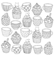 hand drawn cup cupcake for vector image vector image