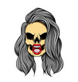 hand drawn gloomy girl skull with the vector image vector image