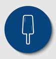 ice cream sign white contour icon in dark vector image vector image