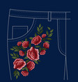 jeans folks floral embroidery pattern vector image