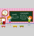 kids studying english in classroom vector image vector image