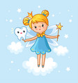 lovely fairy with a tooth and a magic wand vector image vector image