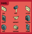 mail color outline isometric icons vector image vector image