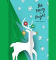 merry christmas card paper cut craft reindeer vector image vector image