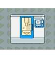 Metalworking cnc center with tools vector image