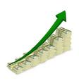 Money banknotes stacks rising graph vector image
