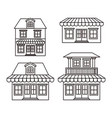 monochrome background with set of houses with vector image