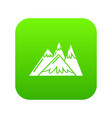 mountains icon green vector image vector image