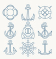 nautical thin line emblem set vector image vector image