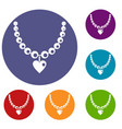 necklace icons set vector image vector image