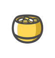 pot with gold coins icon cartoon vector image