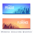 prague and florence famous city scapes vector image vector image