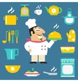 Restaurant chef and kitchen items vector image vector image